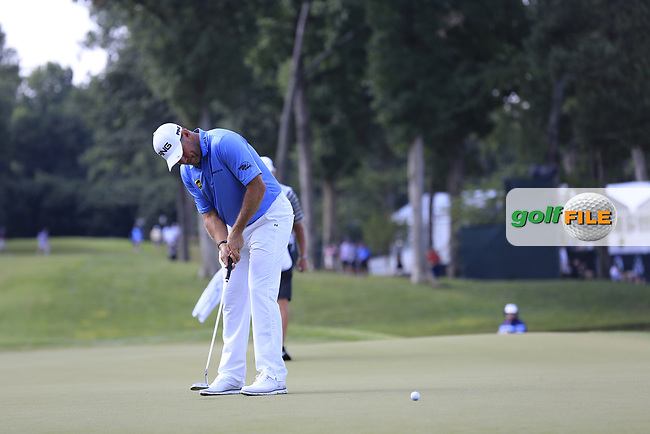 Lee Westwood (ENG) putts on the 14th green during Thursday's Round 1 of the 2017 PGA Championship held at Quail Hollow Golf Club, Charlotte, North Carolina, USA. 10th August 2017.<br /> Picture: Eoin Clarke | Golffile<br /> <br /> <br /> All photos usage must carry mandatory copyright credit (&copy; Golffile | Eoin Clarke)