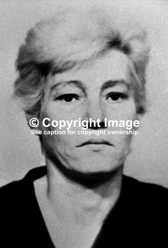Elizabeth Douglas, senior, 41 years, who was jailed for 10 years, for her part in the murder on 24 July 1974 of 31 year old Anne Ogilby, originally from Sion Mills, Co Tyrone, N Ireland. She was charged along with nine other women and one man who received lesser sentences. Douglas, who was head of the women's UDA in Sandy Row, died in jail in 1979. 197502100130ED..Copyright Image from Victor Patterson, 54 Dorchester Park, Belfast, UK, BT9 6RJ..Tel: +44 28 9066 1296.Mob: +44 7802 353836.Voicemail +44 20 8816 7153.Skype: victorpattersonbelfast.Email: victorpatterson@me.com.Email: victorpatterson@ireland.com (back-up)..IMPORTANT: If you wish to use this image or any other of my images please go to www.victorpatterson.com and click on the Terms & Conditions. Then contact me by email or phone with the reference number(s) of the image(s) concerned.