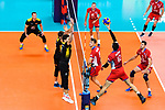 18.09.2019, Lotto Arena, Antwerpen<br />Volleyball, Europameisterschaft, Deutschland (GER) vs. Slowakei (SVK)<br /><br />Block / Doppelblock Tobias Krick (#2 GER), Lukas Kampa (#11 GER) - Angriff Matej Patak (#12 SVK)<br /><br />  Foto © nordphoto / Kurth