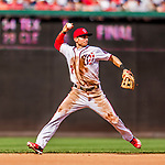 29 June 2017: Washington Nationals infielder Trea Turner in action against the Chicago Cubs at Nationals Park in Washington, DC. The Cubs rallied against the Nationals to win 5-4 and split their 4-game series. Mandatory Credit: Ed Wolfstein Photo *** RAW (NEF) Image File Available ***