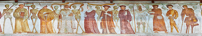 "The Church of San Vigilio in Pinzolo and its fresco paintings ""Dance of Death"" painted by Simone Baschenis of Averaria in1539, Pinzolo, Trentino, Italy<br />