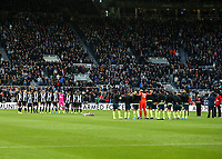9th November 2019; St James Park, Newcastle, Tyne and Wear, England; English Premier League Football, Newcastle United versus AFC Bournemouth;  Newcastle United and Bournemouth players link arms during the minutes silence to commemorate Armistice day - Strictly Editorial Use Only. No use with unauthorized audio, video, data, fixture lists, club/league logos or 'live' services. Online in-match use limited to 120 images, no video emulation. No use in betting, games or single club/league/player publications