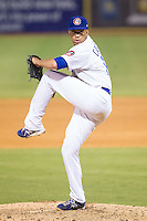 Chattanooga Lookouts relief pitcher Freddie Cabrera (14) in action against the Montgomery Biscuits at AT&T Field on July 24, 2014 in Chattanooga, Tennessee.  The Biscuits defeated the Lookouts 6-4. (Brian Westerholt/Four Seam Images)