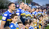 Picture by Alex Whitehead/SWpix.com - 24/04/2015 - Rugby League - First Utility Super League - Leeds Rhinos v Warrington Wolves - Headingley Carnegie Stadium, Leeds, England - Leeds captain Kevin Sinfield lines up before kick-off as he celebrates his 500th game for the club.