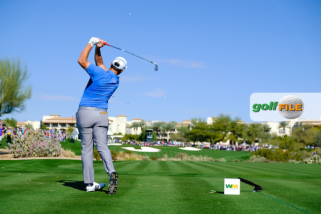 Jon Rahm (ESP) on the 4th tee during the 2nd round of the Waste Management Phoenix Open, TPC Scottsdale, Scottsdale, Arisona, USA. 01/02/2019.<br /> Picture Fran Caffrey / Golffile.ie<br /> <br /> All photo usage must carry mandatory copyright credit (&copy; Golffile | Fran Caffrey)