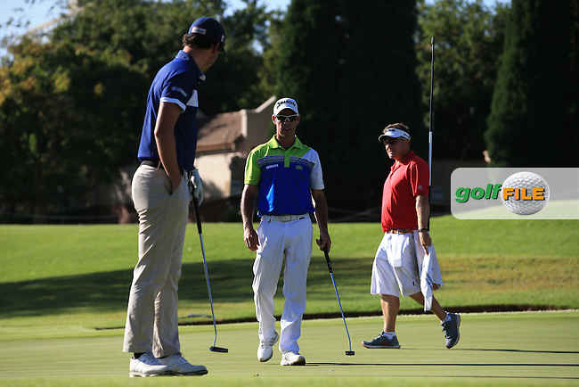 Getting ready to begin again, Renato Paratore (ITA) and Jaco Van Zyl (RSA) mark their balls on the 9th green, before the recommencement of Round Three of the 2016 BMW SA Open hosted by City of Ekurhuleni, played at the Glendower Golf Club, Gauteng, Johannesburg, South Africa.  10/01/2016. Picture: Golffile | David Lloyd<br /> <br /> All photos usage must carry mandatory copyright credit (&copy; Golffile | David Lloyd)
