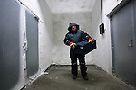 Professor Roland von Bothmer of the Swedish University of Agriculture inside the Global Seed Vault in Svalbard, Norway with seeds for cold storage.