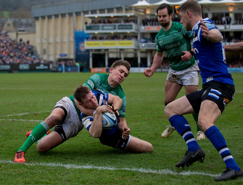 Bath's Will Chudley scores his sides third try<br /> <br /> Photographer Bob Bradford/CameraSport<br /> <br /> Gallagher Premiership - Bath Rugby v Newcastle Falcons - Saturday 16th February 2019 - The Recreation Ground - Bath<br /> <br /> World Copyright © 2019 CameraSport. All rights reserved. 43 Linden Ave. Countesthorpe. Leicester. England. LE8 5PG - Tel: +44 (0) 116 277 4147 - admin@camerasport.com - www.camerasport.com