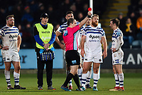 Ross Batty of Bath Rugby is shown a red card by referee Ian Tempest. Gallagher Premiership match, between Worcester Warriors and Bath Rugby on January 5, 2019 at Sixways Stadium in Worcester, England. Photo by: Patrick Khachfe / Onside Images
