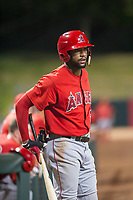 AZL Angels designated hitter Jordon Adell (25) waits on deck during a game against the AZL Indians on August 7, 2017 at Tempe Diablo Stadium in Tempe, Arizona. AZL Indians defeated the AZL Angels 5-3. (Zachary Lucy/Four Seam Images)