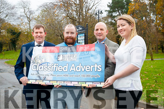 Launching the Kerry's Eye Premier Travel Holiday Competition were: Sean O'Keeffe, Kerry's Eye, David McMahon, Brendan Kennelly, Kerry's Eye and Norma Moriarty, Premier Travel.