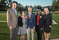 President Jonathan Veitch (left) with 2013 Occidental College Athletic Hall of Fame inductees (left to right) Jean Marie (Sanders) Szakovits '84, Jim Mora '57, and Jacqui (Dent) Ivey '92. On the right is Jaime Hoffman, associate vice president and athletic director.<br />