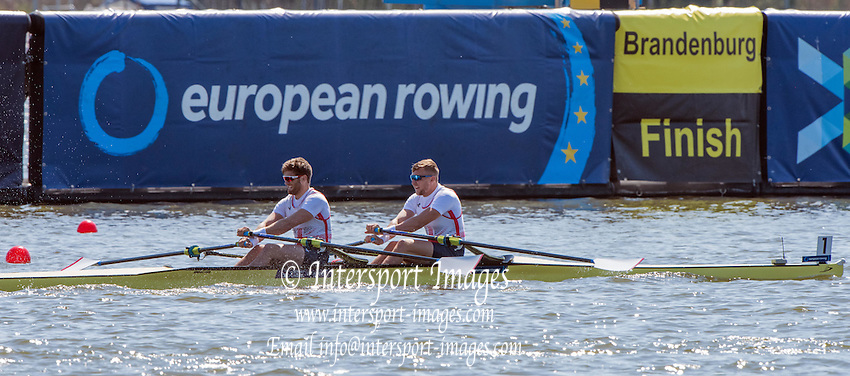Brandenburg. GERMANY. GBR M2X, Bow John COLLINS and Jonny WALTON. <br /> 2016 European Rowing Championships at the Regattastrecke Beetzsee<br /> <br /> Saturday  07/05/2016<br /> <br /> [Mandatory Credit; Peter SPURRIER/Intersport-images]