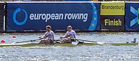 Brandenburg. GERMANY. GBR M2X, Bow John COLLINS and Jonny WALTON. <br /> 2016 European Rowing Championships at the Regattastrecke Beetzsee<br /> <br /> Saturday  07/05/2016<br /> <br /> [Mandatory Credit; Peter SPURRIER/Intersport-images]