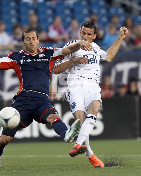 Vancouver Whitecaps FC forward Sebastien Le Toux (7) takes a shot. In a Major League Soccer (MLS) match, the New England Revolution defeated Vancouver Whitecaps FC, 4-1, at Gillette Stadium on May 12, 2012.