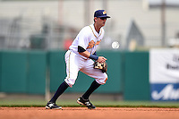 Montgomery Biscuits shortstop Jake Hager (2) during a game against the Mississippi Braves on April 22, 2014 at Riverwalk Stadium in Montgomery, Alabama.  Mississippi defeated Montgomery 6-2.  (Mike Janes/Four Seam Images)