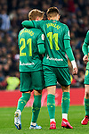 Martin Odegaard (L) and Adnan Januzaj (R) of Real Sociedad celebrate goal during La Liga match between Real Madrid and Real Sociedad at Santiago Bernabeu Stadium in Madrid, Spain. February 06, 2020. (ALTERPHOTOS/A. Perez Meca)