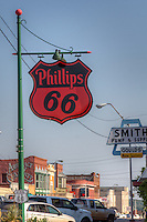 Cottage style Phillips 66 Station on Route 66 in Chandler Oklahoma under restoration.