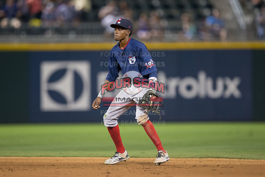 Pawtucket Red Sox second baseman Jose Vinicio (2) on defense against the Charlotte Knights at BB&T BallPark on July 6, 2016 in Charlotte, North Carolina.  The Knights defeated the Red Sox 8-6.  (Brian Westerholt/Four Seam Images)