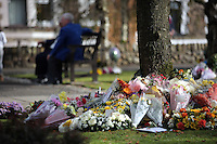 Pictured: Flowers and tributes left at the Memorial Garden Friday 21 October 2016<br />