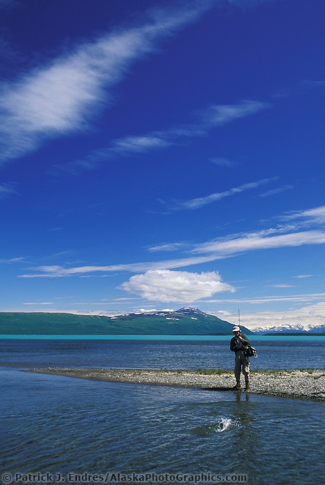 Naknek Lake, salmon fishing, Katmai National Park, Alaska.