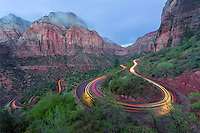 The winding road from the east entrance to Zion National Park utah is full of very tight turns.  This is a difficult path for large motor homes or trailers.