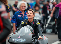 Mar 16, 2019; Gainesville, FL, USA; NHRA pro stock motorcycle rider Karen Stoffer during the Gatornationals at Gainesville Raceway. Mandatory Credit: Mark J. Rebilas-USA TODAY Sports