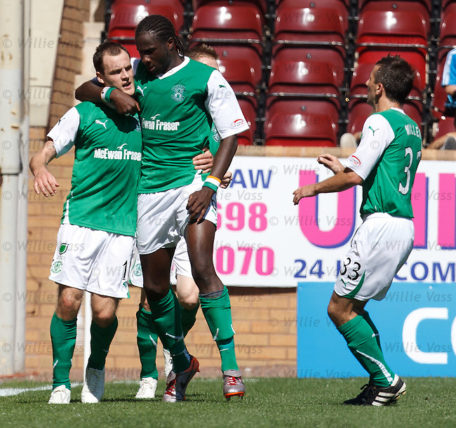 Anthony Stokes celebrates scoring for Hibs on the stroke of half-time
