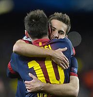 FUSSBALL  CHAMPIONS LEAGUE  ACHTELFINALE  RUECKSPIEL  2012/2013      FC Barcelona  - AC Mailand      13.03.2013 JUBEL; Jordi Alba (re, Barca) umarmt Torschuetze zum 2-0 Lionel Messi (Barca)