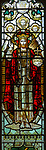 Victorian 19th century stained glass window, church of Bradfield Combust, Suffolk, England, UK - c 1899 Powell, Christ the King