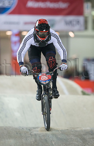 18.04.2015. Manchester, England. UCI BMX Supercross World Cup. Day One.  Liam Phillips (GBR) during his winning Mens Elite Time Trial race.
