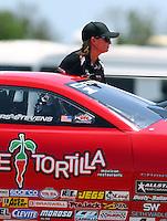 Apr 25, 2015; Baytown, TX, USA; NHRA pro stock driver Erica Enders-Stevens during qualifying for the Spring Nationals at Royal Purple Raceway. Mandatory Credit: Mark J. Rebilas-