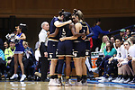DURHAM, NC - FEBRUARY 04: Notre Dame starters huddle before the game. The Duke University Blue Devils hosted the University of Notre Dame Fighting Irish on February 4, 2018 at Cameron Indoor Stadium in Durham, NC in a Division I women's college basketball game. Notre Dame won the game 72-54.
