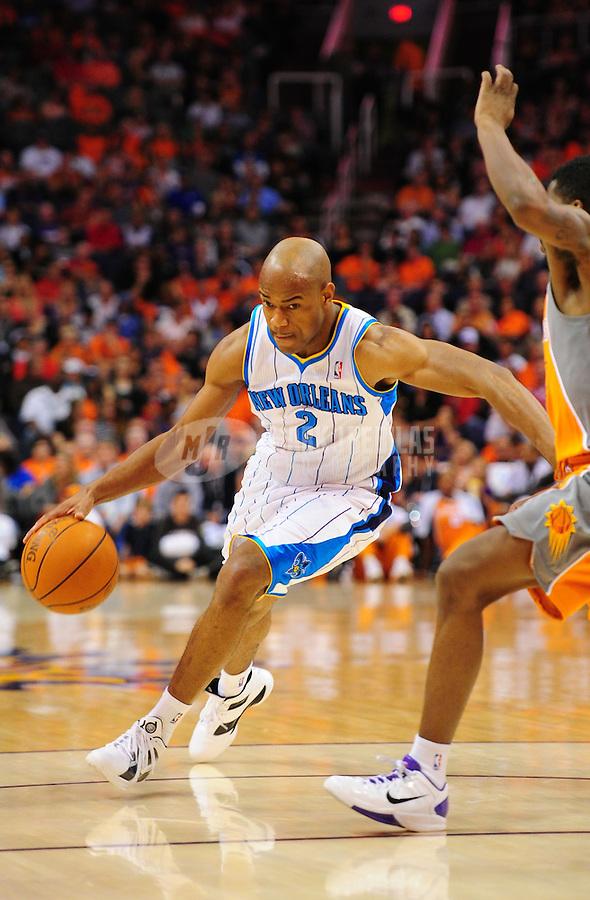Mar. 25, 2011; Phoenix, AZ, USA; New Orleans Hornets guard (2) Jarrett Jack against the Phoenix Suns at the US Airways Center. The Hornets defeated the Suns 106-100. Mandatory Credit: Mark J. Rebilas-