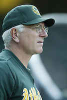 Oakland Athletics coach Ken Macha before a 2002 MLB season game against the Los Angeles Angels at Angel Stadium, in Anaheim, California. (Larry Goren/Four Seam Images)