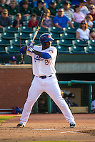 Miguel Sano (24) of the Chattanooga Lookouts bats during a game between the Jackson Generals and Chattanooga Lookouts at AT&T Field on May 8, 2015 in Chattanooga, Tennessee. (Brace Hemmelgarn/Four Seam Images)