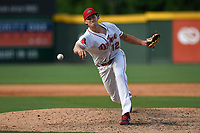 Pitcher Pat Goetze (12) of the Greenville Drive delivers a pitch in game one of a doubleheader against the Rome Braves on Tuesday, May 30, 2017, at Fluor Field at the West End in Greenville, South Carolina. Rome won, 10-7. (Tom Priddy/Four Seam Images)