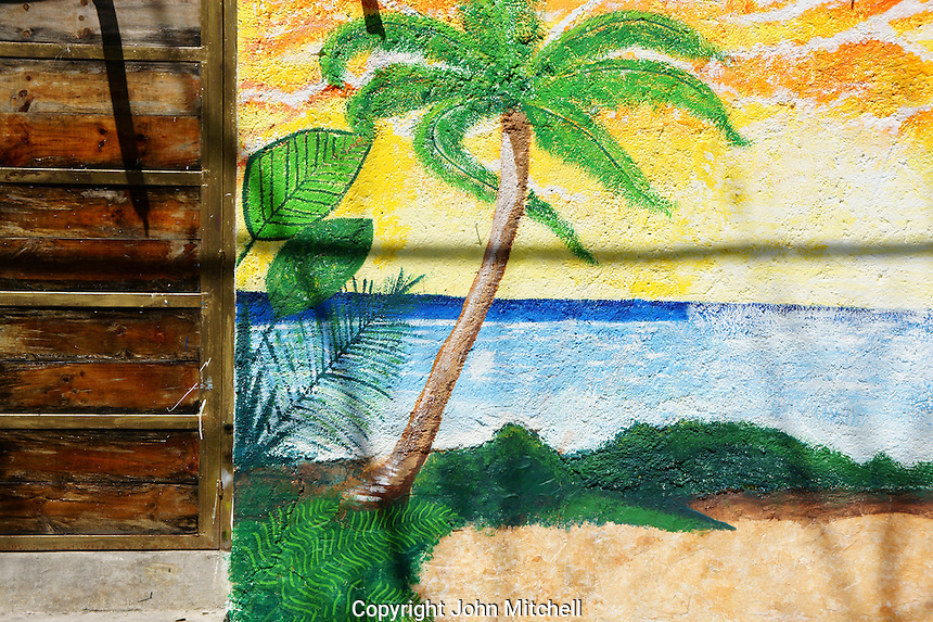 Beach mural in downtown, Cancun, Quintana Roo, Mexico.