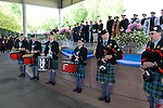 The Sierra Highlanders Pipe Band performs at the 2015 Western Nevada College Commencement held at the Pony Express Pavilion in Carson City, Nev., on Monday, May 18, 2015.<br /> Photo by Tim Dunn