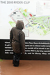 NEWPORT, WALES - OCTOBER 1: A fan looks over a flooded map of the course during the 2010 Ryder Cup at the Celtic Manor Resort on October 1, 2010 in Newport, Wales. (Photo by Donald Miralle)