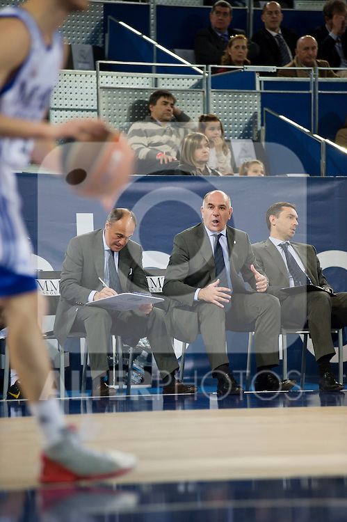 Real Madrid' vs Granada ACB match on March 13, 2011. Real Madrid,Coach,entrenador,Molin,gesto..Photo: Marcos / ALFAQUI