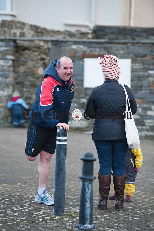 Councillor Paul Murphy of Clarecastle stretches out after taking part in the West Clare Mini marathon which ran from Kilrush to  Kilkee in aid of the West Clare Mini Marathon Cancer Centre. Photograph by John Kelly.
