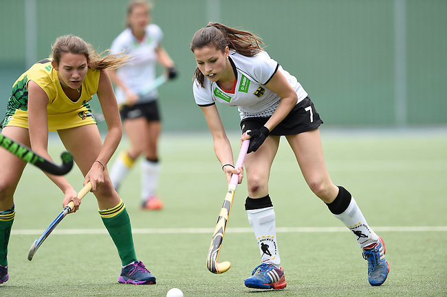 GER - Mannheim, Germany, May 24: During the U16 Girls match between Australia (green) and Germany (white) during the international witsun tournament on May 24, 2015 at Mannheimer HC in Mannheim, Germany. Final score 0-6 (0-3). (Photo by Dirk Markgraf / www.265-images.com) *** Local caption *** Emma Foerter #7 of Germany