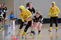 Malaysia's Fathih Hansi Binti Che Husain andNew Zealand's Emma Fell in action during the World Floorball Championships 2017 Qualification for Asia Oceania Region - New Zealand v Malaysia at ASB Sports Centre , Wellington, New Zealand on Saturday 4 February 2017.<br /> Photo by Masanori Udagawa<br /> www.photowellington.photoshelter.com.