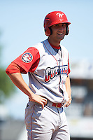 Williamsport Crosscutters first baseman Brendon Hayden (43) on third during a game against the Batavia Muckdogs on July 16, 2015 at Dwyer Stadium in Batavia, New York.  Batavia defeated Williamsport 4-2.  (Mike Janes/Four Seam Images)