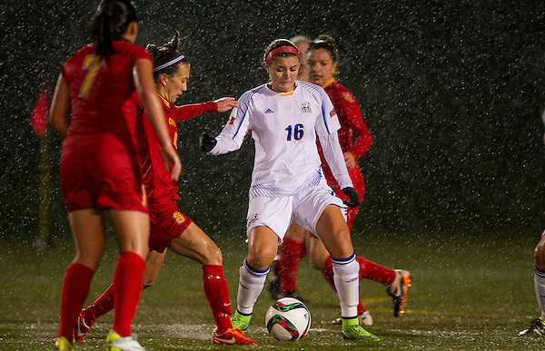 VANCOUVER,BC:NOVEMBER 12, 2015 -- UBC Thunderbirds v University of Calgary Dinos during the 2015 CIS Women's Soccer National Championships at UBC in Vancouver, BC, November, 12, 2015. (Rich Lam/UBC Athletics Photo) <br /> <br /> ***MADATORY CREDIT***