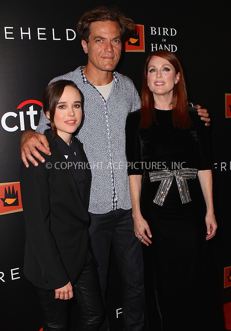 WWW.ACEPIXS.COM<br /> <br /> September 28, 2015 New York City<br /> <br /> Ellen Page, Michael Shannon and Julianne Moore (L-R) arriving at  the premiere of 'Freeheld' at the Museum of Modern Art on September 28 2015 in New York City.<br /> <br /> <br /> Please byline: Nancy Rivera/ACE Pictures<br /> <br /> ACE Pictures, Inc.<br /> www.acepixs.com, Email: info@acepixs.com<br /> Tel: 646 769 0430