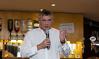 Ron Wilson (former Scotland Rugby International) talks during pre match hospitality during the Greene King IPA Championship match between London Scottish Football Club and Jersey at Richmond Athletic Ground, Richmond, United Kingdom on 7 November 2015. Photo by Andy Rowland.