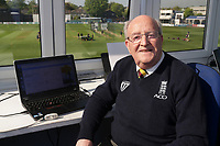 Essex CCC first team scorer Tony Choat pictured in the scorebox ahead of Day Two of Essex CCC vs Nottinghamshire CCC. Tony has been appointed as a scorer at the 2019 ICC World Cup.