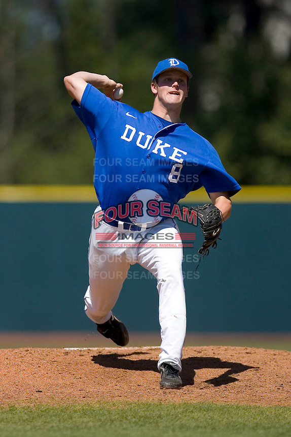 Starting pitcher Andrew Walcott #8 of the Duke Blue Devils in action versus the Wake Forest Demon Deacons at Jack Coombs Field March 29, 2009 in Durham, North Carolina. (Photo by Brian Westerholt / Four Seam Images)
